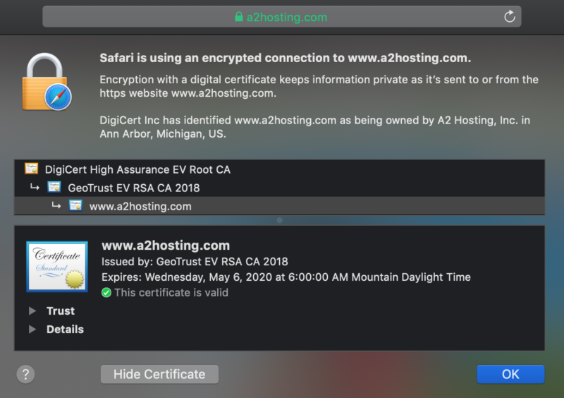 A website's SSL certificate information.