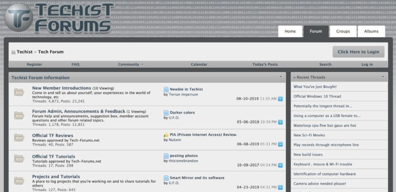 The Techist Forums home page.