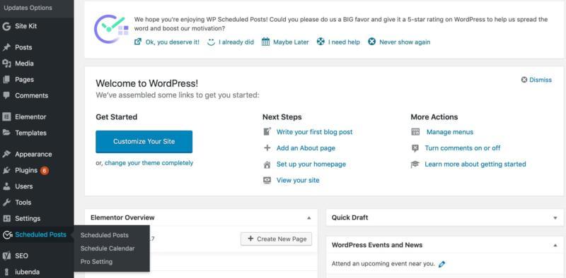 A view WordPress dashboard sidebar.