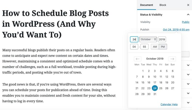 A view of the WordPress admin blog post screen.