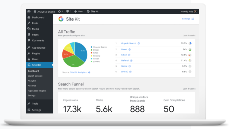 SiteKit by Google Dashboard.