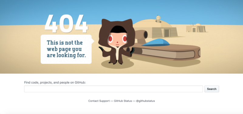 A search bar on GitHub's error page.
