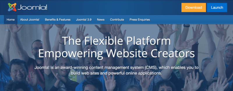 The Joomla! home page.