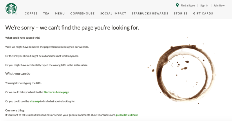 Starbucks' error page with a sitemap.