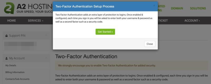 The A2 Hosting Two-Factor Authentication Setup Process popup window.