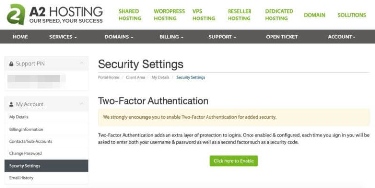 The A2 Hosting Security Settings page in the Customer Portal.