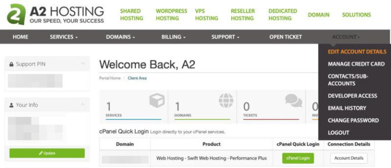 The A2 Hosting Customer Portal.
