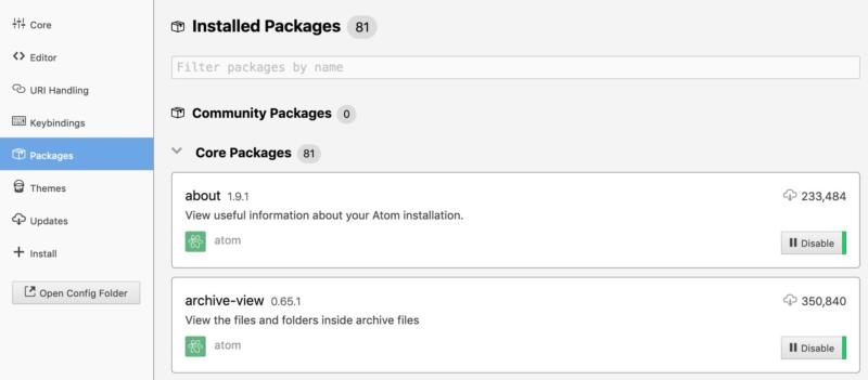 The Installed Packages page in the Atom code editor.