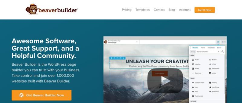 The Beaver Builder home page.