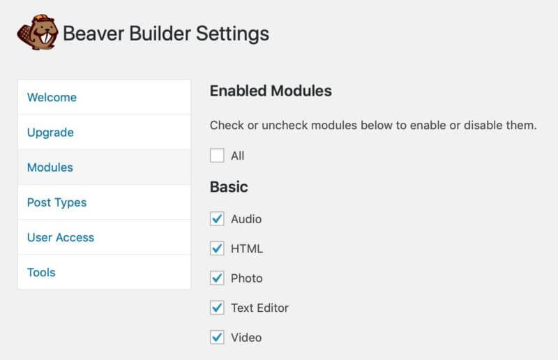 Enabling modules in Beaver Builder.