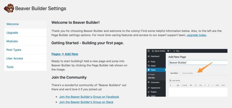 Beaver Builder's settings.