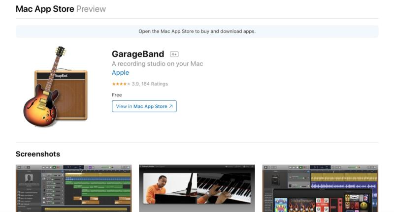 The GarageBand Mac App Store preview page.