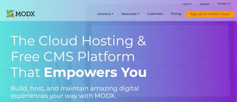 The MODx home page.