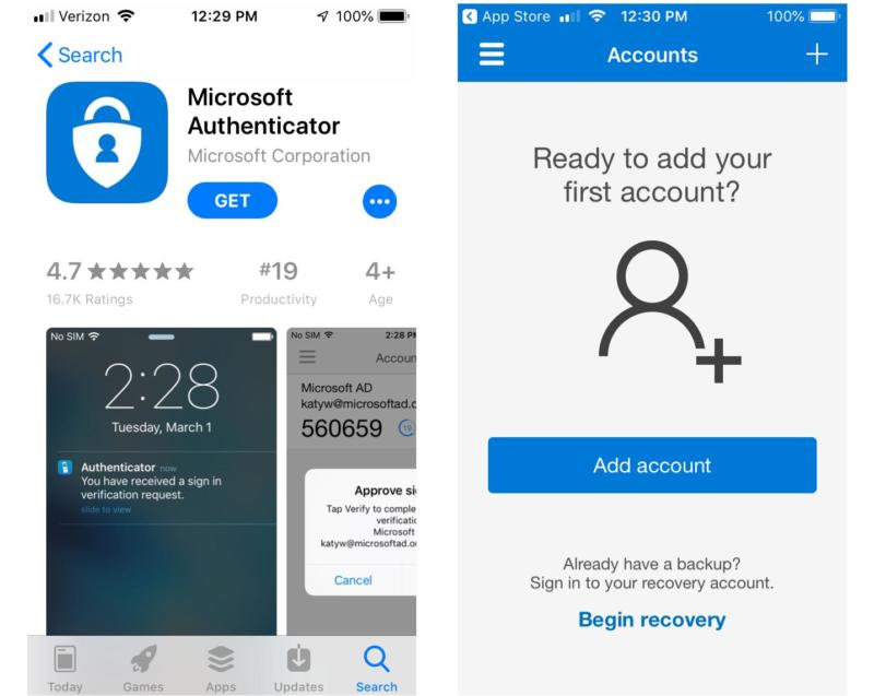 The Microsoft Authenticator app.