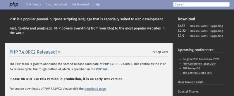 The PHP home page.