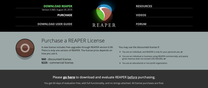 The Reaper software home page.