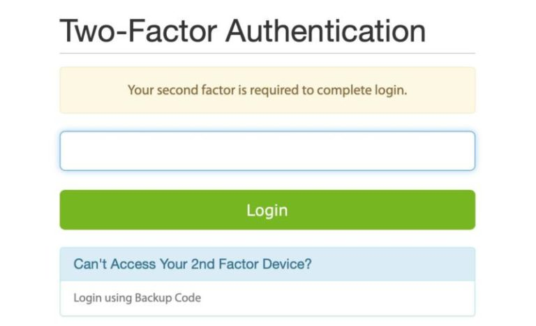 The Two-Factor Authentication login screen.