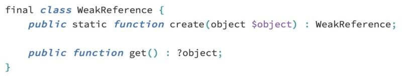 The proposed API for WeakReferences in PHP.