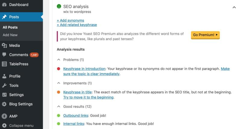 An SEO analysis from Yoast in the WordPress admin.