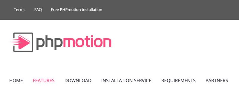 The PHPmotion features page.