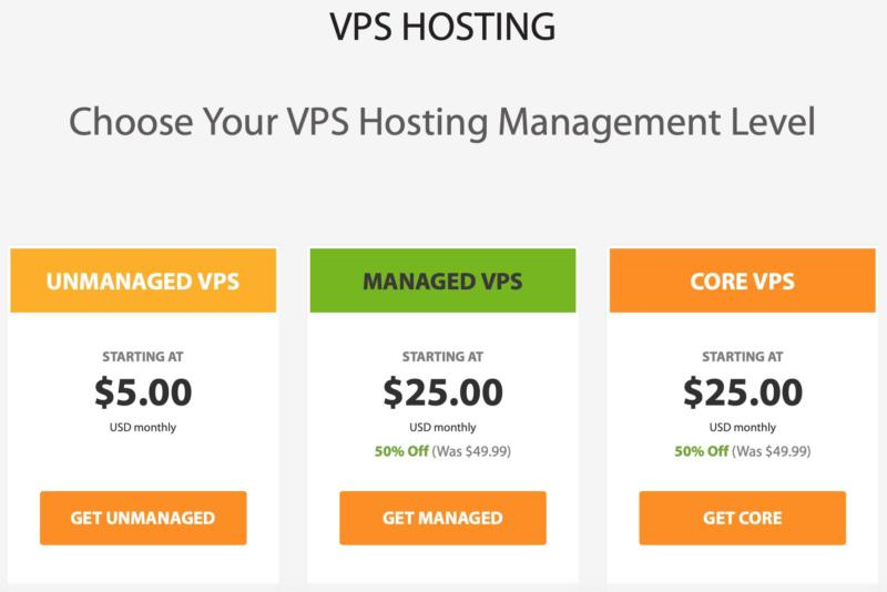 Some VPS hosting plans available from A2 Hosting.