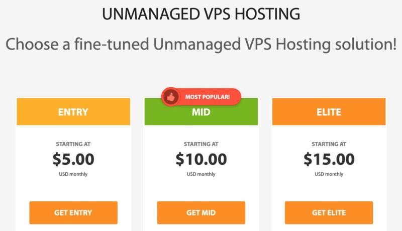 The unmanaged VPS plans from A2 Hosting.