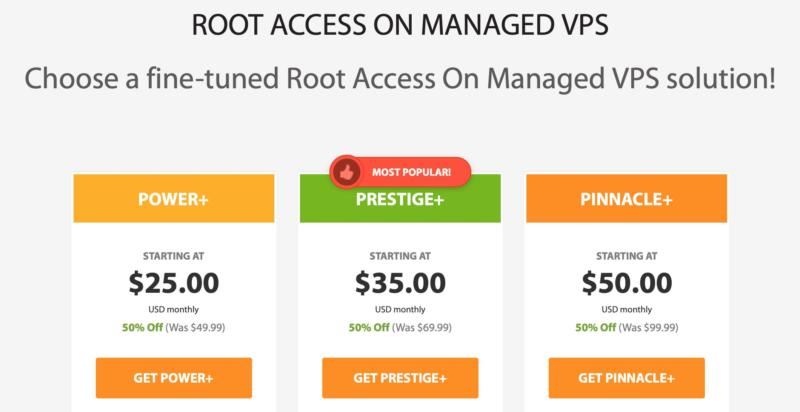 Some managed VPS plans with root access from A2 Hosting.