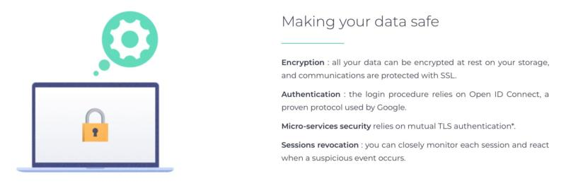 The Pydio security features listing.