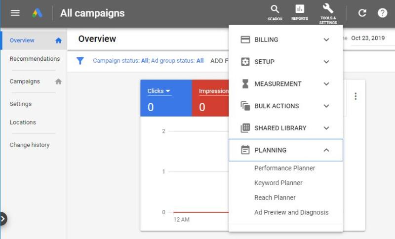 The Google Keyword Planner option.