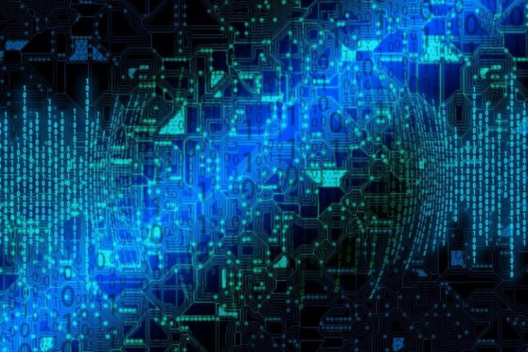 A blue binary code design.