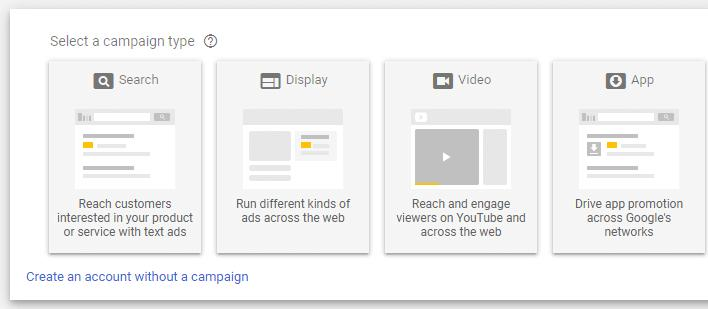 Creating an account without a campaign in Google Ads.