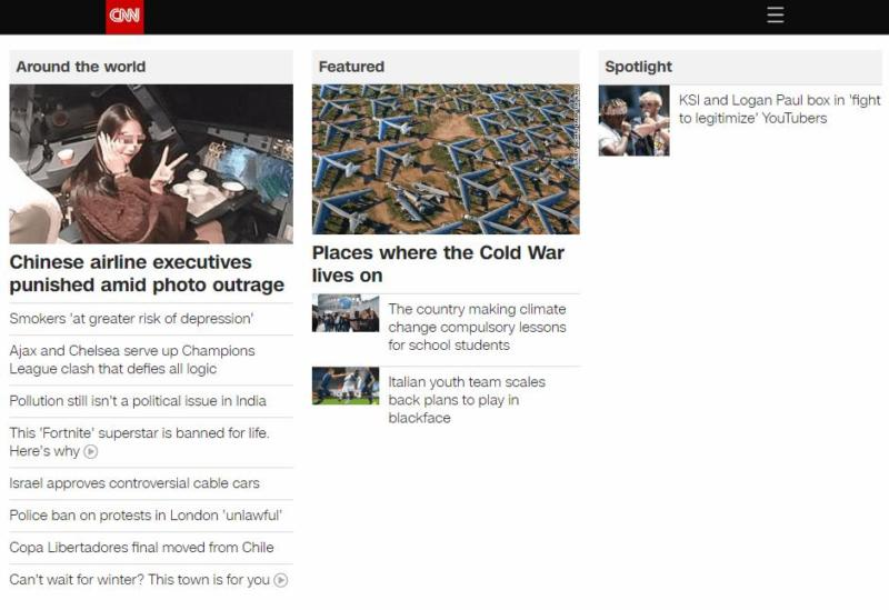 The CNN homepage.