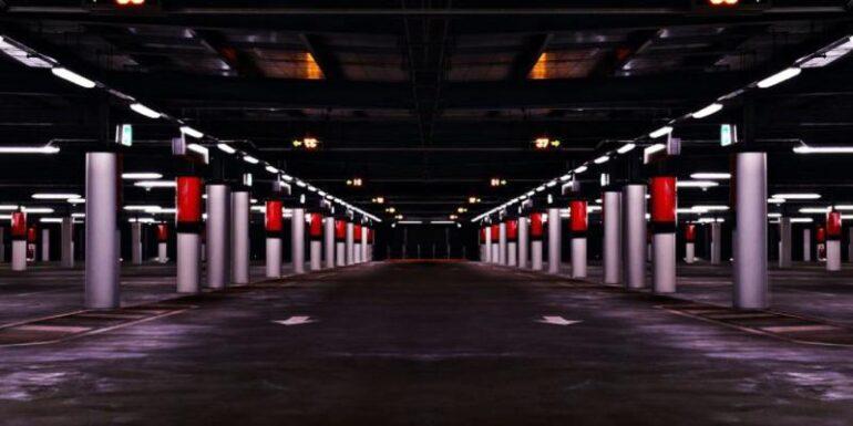 A parking garage.