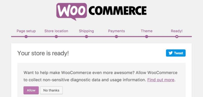 The WooCommerce onboarding wizard.