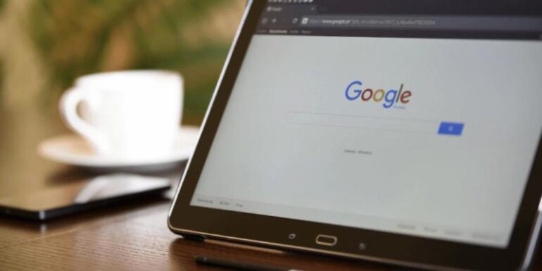 An image of Google on a laptop.