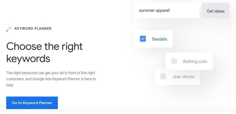 The Google Keyword Planner tool.