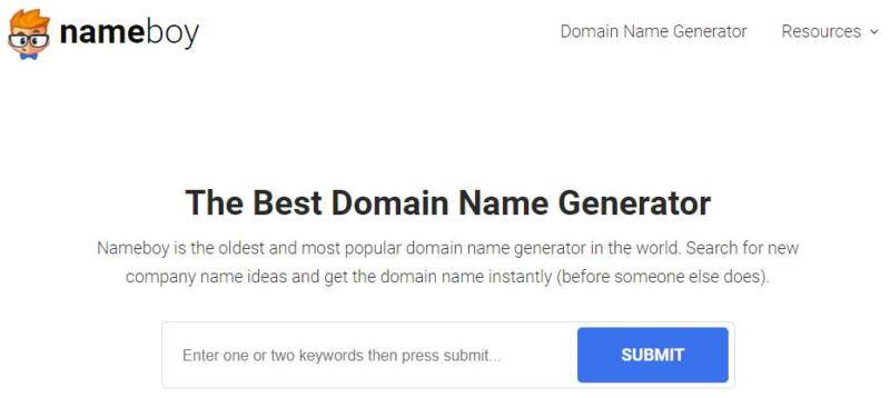 The Nameboy domain name generator.