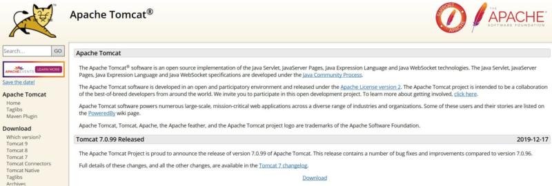 The Apache Tomcat homepage.