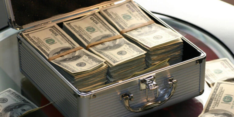 A briefcase with a lot of money.