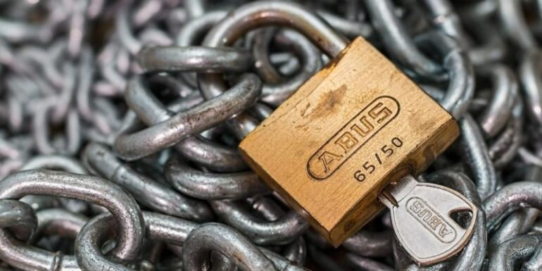 A chain and padlock.