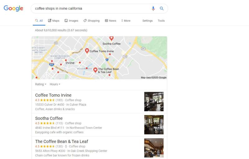 A search for a coffee shop.