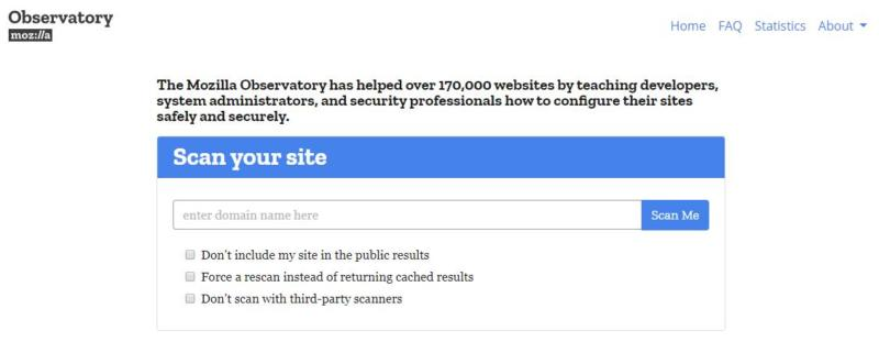 The Mozilla Observatory website.