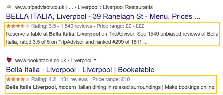 Examples of rich snippets in Google.