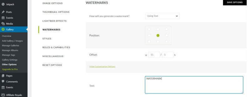The NextGEN Gallery watermark settings.