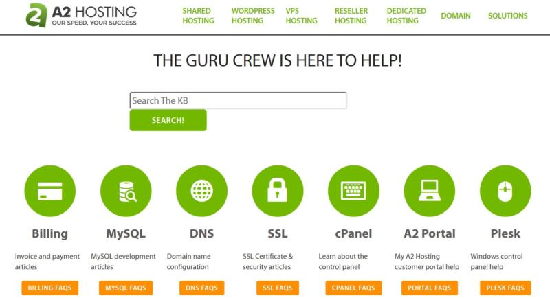 A2 Hosting Support page.