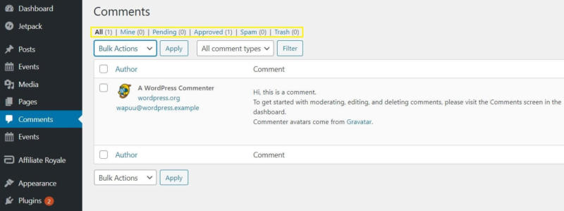 The navigation links for the WordPress Comments screen.