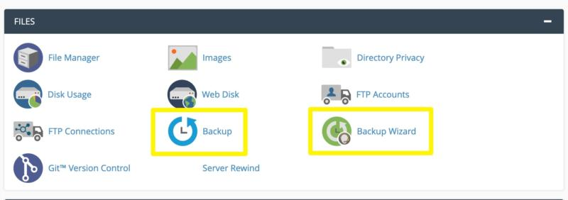 The cPanel backup options.