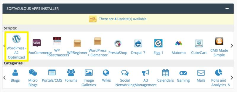 The cPanel WordPress installer for A2 Hosting.