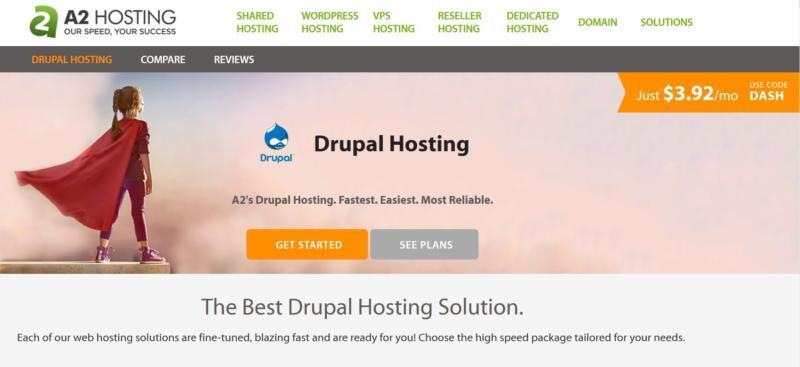 A2 Hosting's Drupal hosting plans.