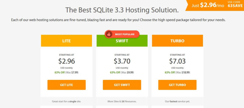 The A2 Hosting SQLite hosting pricing table.
